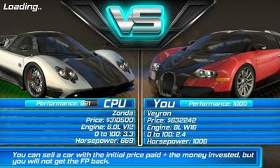 Screenshots of the 3D Drag Race for Android tablet, phone.