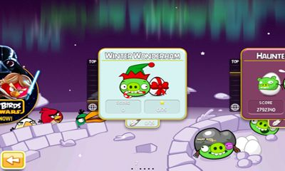 Screenshots of the Angry Birds Seasons Winter Wonderham! for Android tablet, phone.