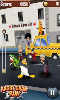 Screenshots of the Angry Gran Run for Android tablet, phone.