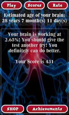 Screenshots of the Brain Age Test for Android tablet, phone.