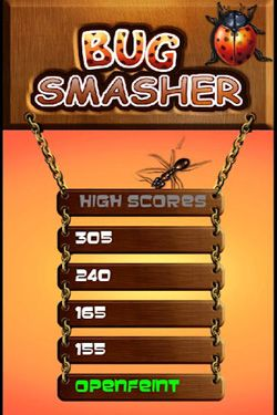 Screenshots of the Bug smasher for Android tablet, phone.