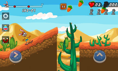 Screenshots of the Bunny Skater for Android tablet, phone.
