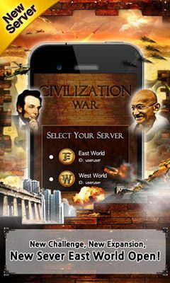 Screenshots of the Civilization War for Android tablet, phone.