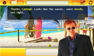 Screenshots of the CSI Miami for Android tablet, phone.