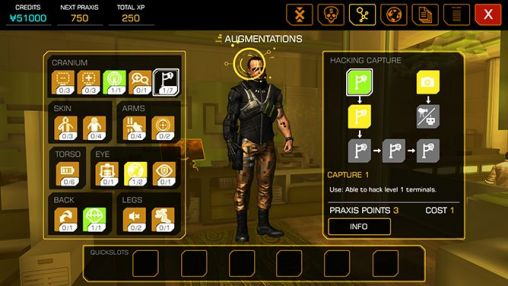 Screenshots of the Deus Ex: The fall for Android tablet, phone.