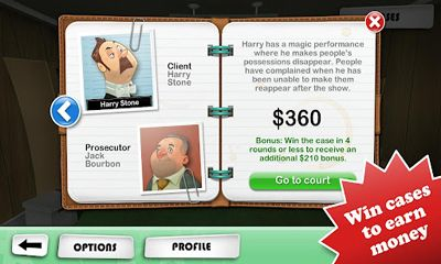 Screenshots of the Devil's Attorney for Android tablet, phone.