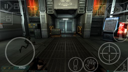 Screenshots of the DOOM 3 for Android tablet, phone.