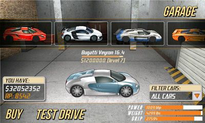 Screenshots of the Drag Racing for Android tablet, phone.