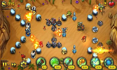 Screenshots of the Fieldrunners for Android tablet, phone.