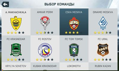 Screenshots of the FIFA 14 for Android tablet, phone.