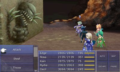 Screenshots of the Final Fantasy IV for Android tablet, phone.