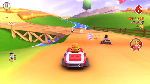 Screenshots of the Garfield kart for Android tablet, phone.