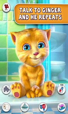 Screenshots of the Talking Ginger for Android tablet, phone.