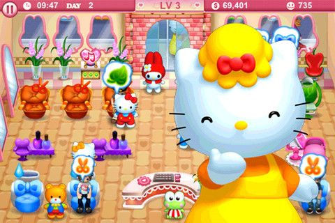 Screenshots of the Hello Kitty beauty salon for Android tablet, phone.