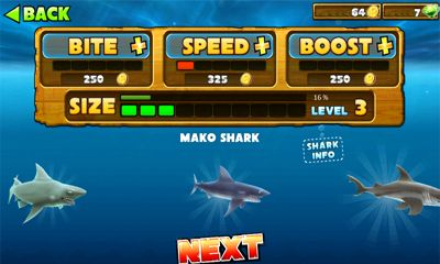 Screenshots of the Hungry Shark Evolution for Android tablet, phone.