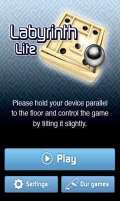 Screenshots of the Labyrinth Lite for Android tablet, phone.