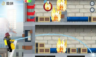 Screenshots of the LEGO City Fire Hose Frenzy for Android tablet, phone.