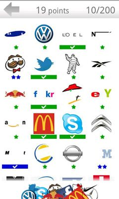 Screenshots of the Logos quiz for Android tablet, phone.