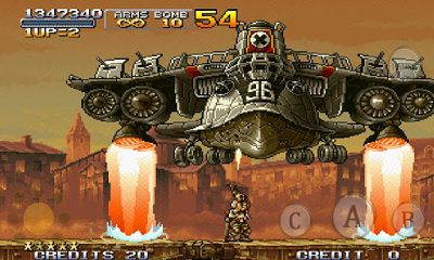 Screenshots of the Metal Slug X for Android tablet, phone.