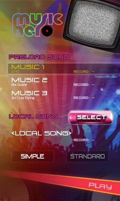Screenshots of the Music Hero for Android tablet, phone.