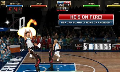 Screenshots of the NBA JAM for Android tablet, phone.