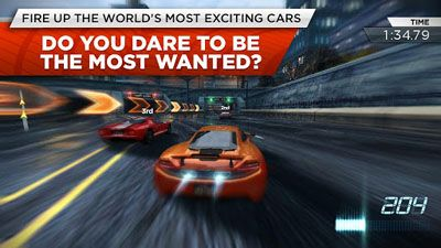 Screenshots of the Need for Speed: Most Wanted for Android tablet, phone.