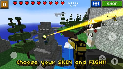 Screenshots of the Pixel Gun 3D (Minecraft style) for Android tablet, phone.