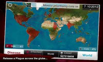 Screenshots of the Plague Inc for Android tablet, phone.