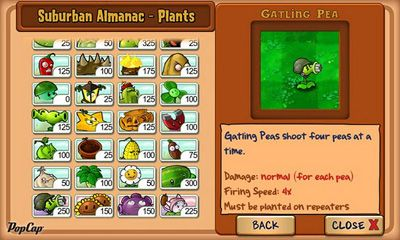 Screenshots of the Plants vs Zombie for Android tablet, phone.