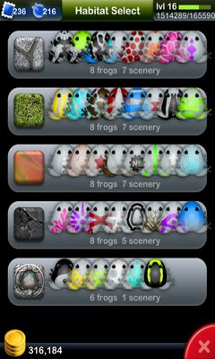 Screenshots of the Pocket Frogs for Android tablet, phone.