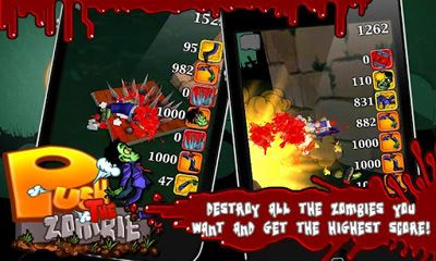 Screenshots of the Push the Zombie for Android tablet, phone.