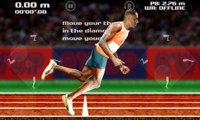 Screenshots of the QWOP for Android tablet, phone.