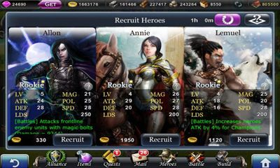 Screenshots of the Reign of conquerors for Android tablet, phone.