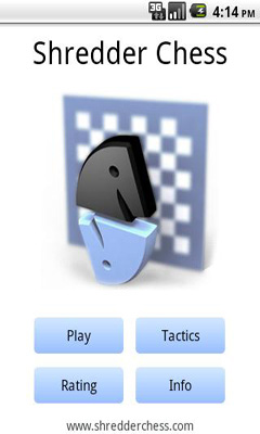 Screenshots of the Shredder Chess for Android tablet, phone.