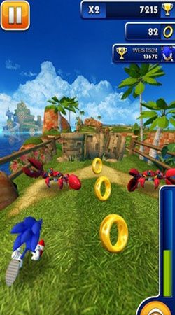 Screenshots of the Sonic dash for Android tablet, phone.