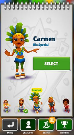 Screenshots of the Subway surfers: World tour Rio for Android tablet