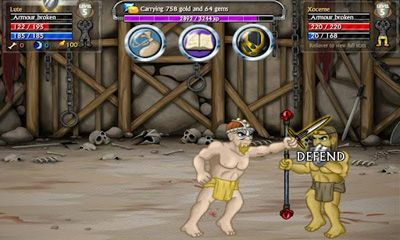 Screenshots of the Swords and Sandals 5 for Android tablet, phone.