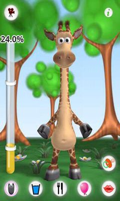 Screenshots of the Talking Gina the Giraffe for Android tablet, phone.