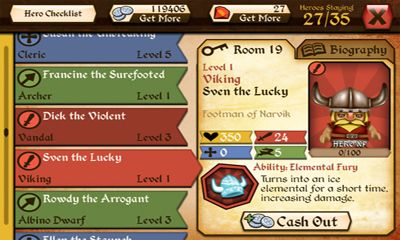 Screenshots of the TAVERN QUEST for Android tablet, phone.