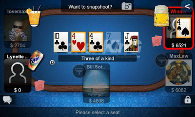 Screenshots of the Texas Hold'em Poker for Android tablet, phone.