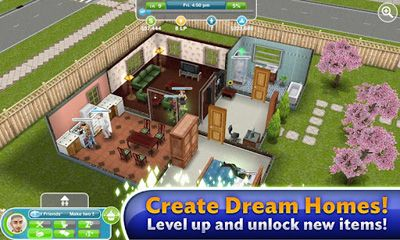 Screenshots of the The Sims: FreePlay for Android tablet, phone.