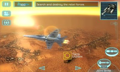 Screenshots of the Tom Clancy's H.A.W.X for Android tablet, phone.