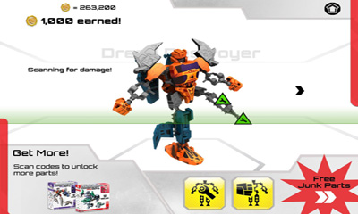 Screenshots of the Transformers Construct-Bots for Android tablet, phone.