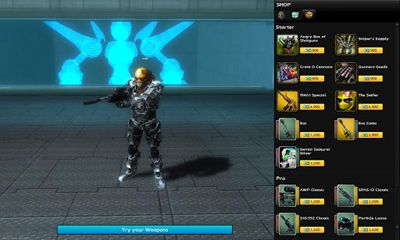 Screenshots of the UberStrike The FPS for Android tablet, phone.