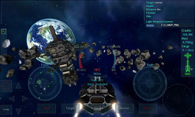 Screenshots of the Vendetta Online for Android tablet, phone.