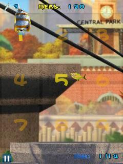 Java game screenshots The Penguins Of Madagascar: Fish Slash. Gameplay