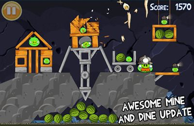 Screenshots of the Angry Birds game for iPhone, iPad or iPod.
