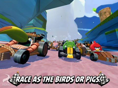 Screenshots of the Angry Birds Go! game for iPhone, iPad or iPod.
