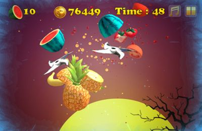 Screenshots of the Angry Zombie Ninja VS. Vegetables game for iPhone, iPad or iPod.