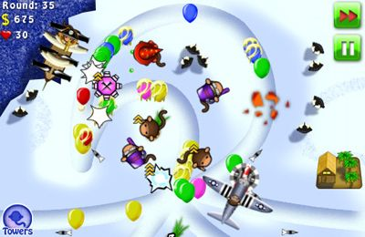 Screenshots of the Bloons TD 4 game for iPhone, iPad or iPod.